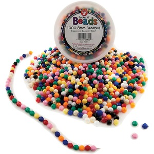 Hygloss® Bucket O'Beads Faceted 8 mm 1,000/tub