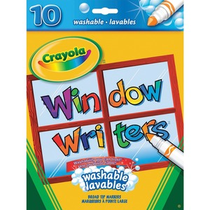 Crayola® Window Writers Markers Washable Conical Tip Assorted Colours 10/pkg