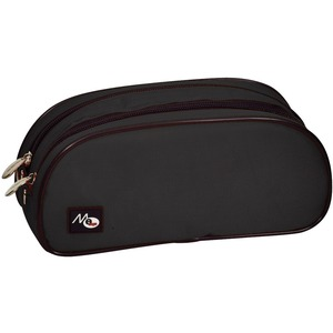 Merangue Nylon Double Zipper Pencil Case Black