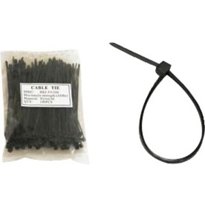 Unirise 12in Nylon Cable Tie 50lbs Black 100pk