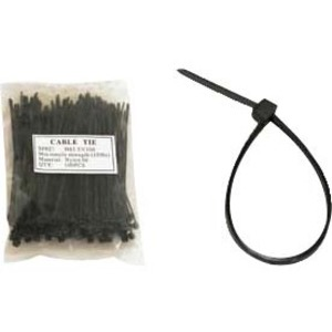 Unirise 4in Nylon Cable Tie 18lbs Black 100pk