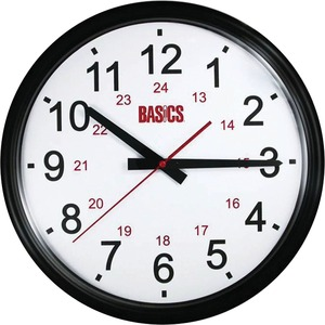 "Basics®  Wall Clock 12/24 Hour 14"" Black"