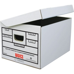 "Basics® Heavy Duty Attached-Lid Storage Boxes 12""W x 15""D x 10""H Oyster 12 boxes/ctn"