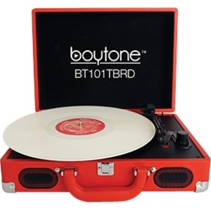 Portable Multimedia Red Turntable 3speed USB SD Fm W/ S / Mfr. No.: Bluetooth-101tbrd