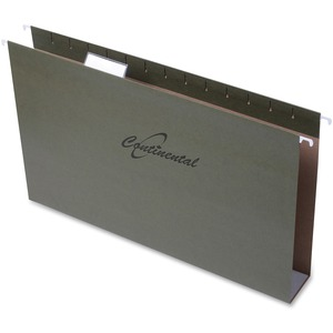 "Continental Extra Capacity Hanging Folders Legal 2"" Standard Green 25/box"