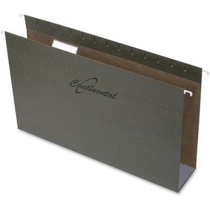 "Continental Extra Capacity Hanging Folders Legal 3"" Standard Green 25/box"