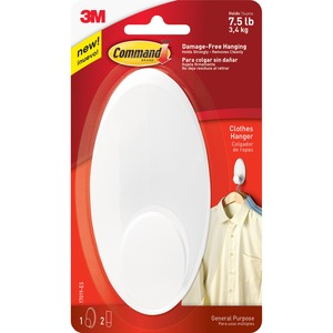 Command™ Adhesive Clothes Hanger Hook White