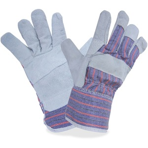 Gloves fit split lthr Lrg gry 12/pkg