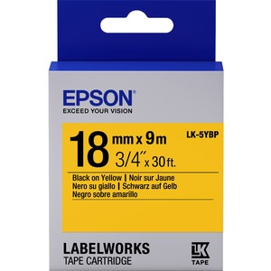 Epson LabelWorks LK-5YBP - Bande d'étiquettes - noir sur jaune - Rouleau (1,8 cm x 9 m) 1 - C53S655003