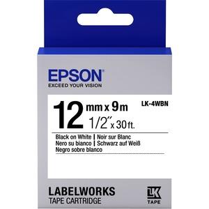 Epson LabelWorks LK-4WBN - Bande d'étiquettes - noir sur blanc - Rouleau (1,2 cm x 9 m) 1 - C53S654021