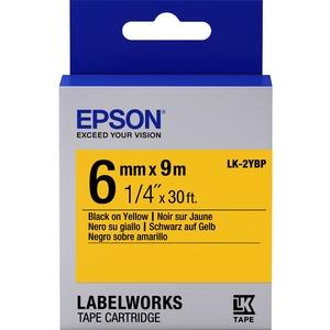 Epson LabelWorks LK-2YBP - Bande d'étiquettes - noir sur jaune - Rouleau (0,6 cm x 9 m) 1 - C53S652002