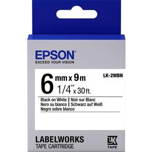 Epson LabelWorks LK-2WBN - Bande d'étiquettes - noir sur blanc - Rouleau (0,6 cm x 9 m) 1 - C53S652003