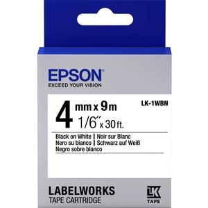 Epson LabelWorks LK-1WBN - Bande d'étiquettes - noir sur blanc - Rouleau (0,4 cm x 9 m) 1 - C53S651001