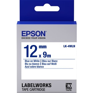 Epson LabelWorks LK-4WLN - Bande d'étiquettes - bleu sur blanc - Rouleau (1,2 cm x 9 m) 1 - C53S654022