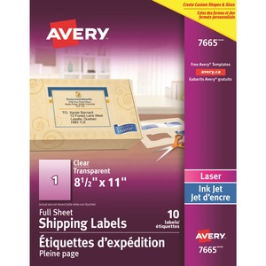 "Avery® Mailing Labels 8-1/2"" x 11"" (10 Labels) Laser and Inkjet Clear 10 sheets/pkg"