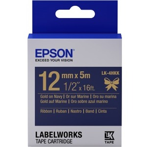Epson LabelWorks LK-4HKK - Ruban satin - gold on navy - Rouleau (1,2 cm x 5 m) 1 rouleau(x) - pour - C53S654002
