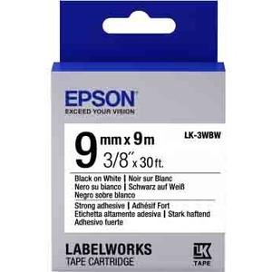 Epson LabelWorks LK-3WBW - Bande d'étiquettes - noir sur blanc - Rouleau (0,9 cm x 9 m) 1 - C53S653007