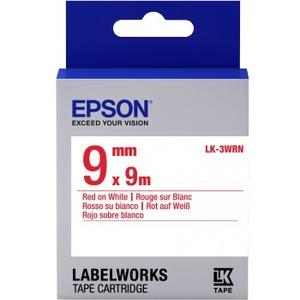 Epson LabelWorks LK-3WRN - Bande d'étiquettes - rouge sur blanc - Rouleau (0,9 cm x 9 m) 1 - C53S653008