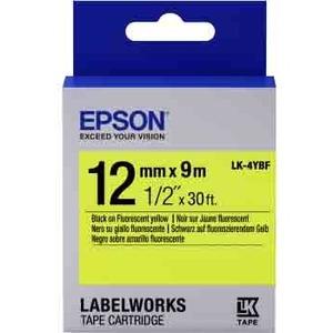 Epson LabelWorks LK-4YBF - Bande d'étiquettes - noir sur jaune - Rouleau (1,2 cm x 2,9 m) 1 - C53S654010