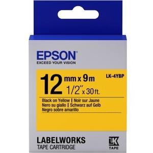 Epson LK-4YBP - Bande d'étiquettes - noir sur jaune - Rouleau (1,2 cm x 9 m) 1 rouleau(x) - pour - C53S654008