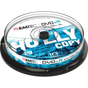 DVD+R Emtec 4,7GB - 16x - Spindle de 10 - ECOVPR471016CB
