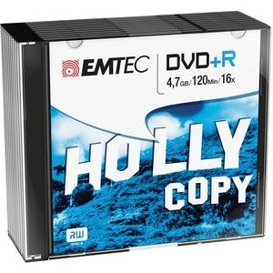 Pack de 10 DVD-R Emtec - 4,7GB (120 minutes) - 16x Boitier Slim - Argenté - ECOVR471016SL