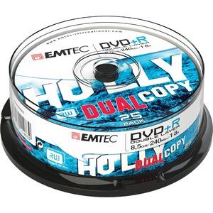DVD+R Emtec 8.5 Go - 240 minutes - 8x - Argenté Spindle 25 - ECOVPR85258CB