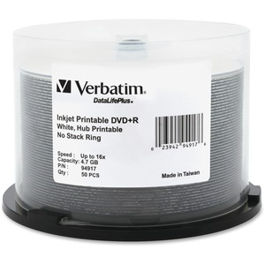 Verbatim® DataLifePlus® DVD+Rs 16X 4.7 GB Printable White 50/spindle