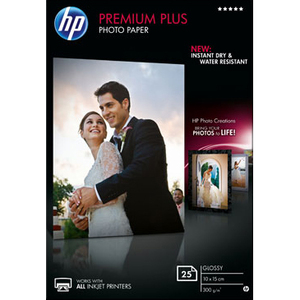 Papier Photo HP Premium Plus - 25 Feuille(s) Brillant - 100 x 150 mm - 300 g/m2 - CR677A