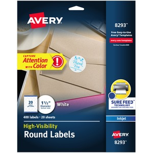 Avery® High Visibility Round Labels (400 Labels) White 20 sheets/pkg