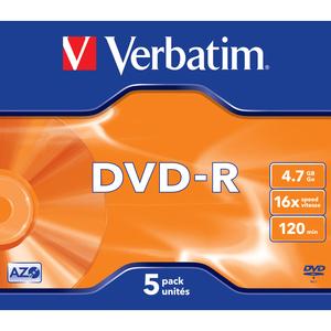 DVD-R Verbatim 4.7 Go - Lot de 5 16x - Boitier CD Mat Transparent - 43519