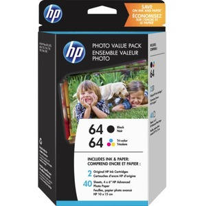 HP 64 Original Ink Cartridge/Paper Kit Value Pack - Black, Tri-color