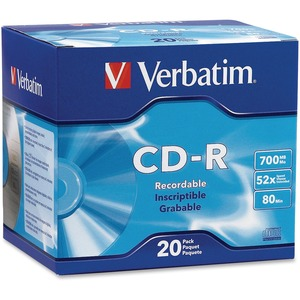 20pk Cdr 52x 700mb 80min Branded W/ Slim Case / Mfr. No.: 94936