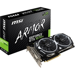 MSI ARMOR GTX 1070 TI ARMOR 8G GeForce GTX 1070 Ti Graphic Card - 1.61 GHz Core - 1.68 GHz Boost Clock - 8 GB GDDR5 - 256 bit Bus Width - Fan Cooler - DirectX 12, OpenGL 4.5 - 3 x DisplayPort - 1 x HDMI - 1 x Total Number of DVI (1 x DVI-D) - Dual Link DV