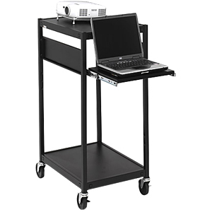 Black Mobile Projector Cart W/Elec 24x18x42in Laptop Shelf / Mfr. no.: ECILS2M-BK