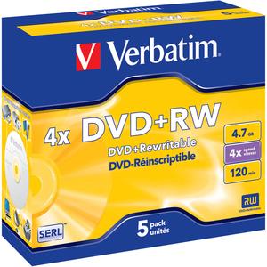 Pack de 5 DVD+RW Verbatim 4x - 4,7GB 8 jours ouvrés - 43229
