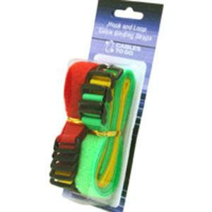 C2G 11in Hook-and-Loop Cable Management Straps - Bright Multi-Color - 12pk