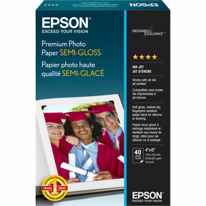 40-Sheet 4x6in Premium Semigloss Photo Paper / Mfr. No.: S041982