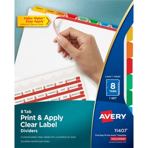 Avery® Index Maker® Clear Label Dividers Coloured Tabs 8-Tabs