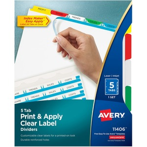 Avery® Index Maker® Clear Label Dividers Coloured Tabs 5-Tabs