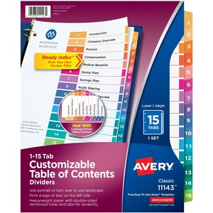 Avery® Ready Index® Table of Contents Dividers Coloured 1-15