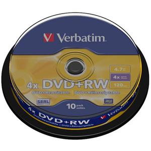Spindle de 10 DVD+RW Verbatim 4.7Go Reinscriptible - 4x - 43488