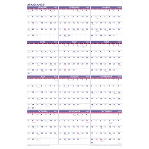 "At-A-Glance® Recycled Yearly Wall Calendar 24"" x 36"" English"
