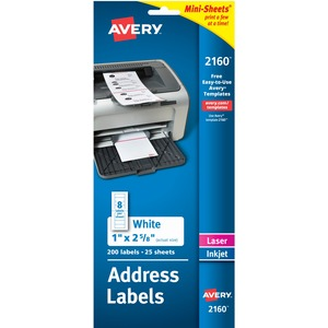 "Avery® Mailing Labels Mini-Sheets 2-5/8"" x 1"" White 200/pkg"