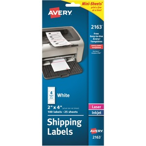 "Avery® Mailing Labels Mini-Sheets 4"" x 2"" White 100/pkg"