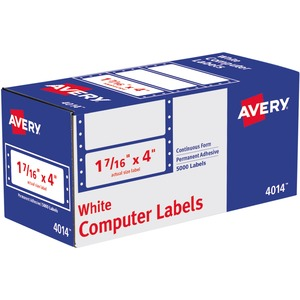 "Avery® Computer Labels 4"" x 1-7/16"" White 5,000/box"