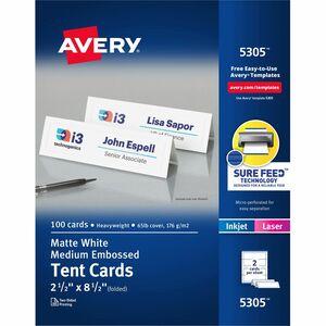 "Avery® Tent Cards Medium 8-1/2"" x 2-1/2"" White 100/box"
