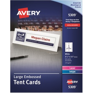 "Avery® Tent Cards Large 11"" x 3-1/2"" White 50/box"