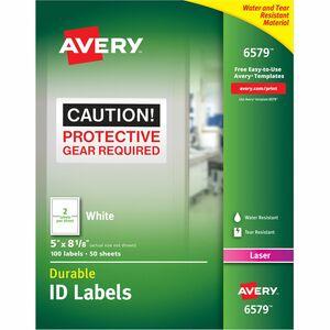 "Avery® TrueBlock Durable Labels Permanent 8-1/8"" x 5"" Laser White 100/pkg"