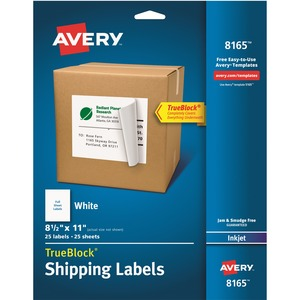 "Avery® TrueBlock  Shipping Labels 11"" x 8-1/2"" (25 Labels) Inkjet White 25 sheets/pkg"